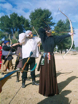 Barony of Sun Dragon archery line...with classic target form...Oso Park, Spring 2000