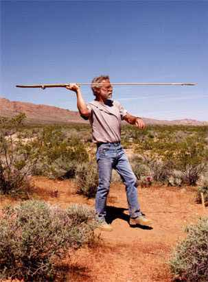 Atlatl stance before the stepping out and throwing